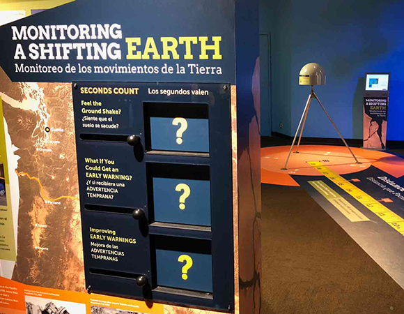 Close up of the entry interactive panel Monitoring a Shifting Earth. The Monitoring a Shifting Earth exhibit was installed at the Pacific Science Center June 2018. (Photo courtesy of Pacific Science Center)