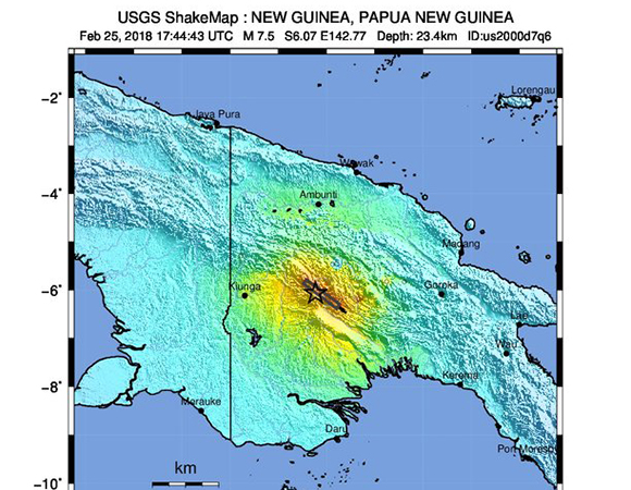 USGS ShakeMap for the February 25, 2018 Mw 7.5 earthquake 81km SW of Porgera, Papua New Guinea. (Figure from USGS.)