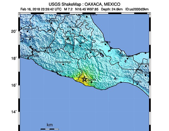 USGS ShakeMap for the February 16, 2018 M7.2 earthquake 37km NE of Pinotepa, Mexico. (Figure from USGS)