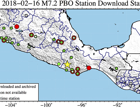 Map showing continuous GPS/GNSS stations near the epicenter (yellow star) of the February 16, 2018 M7.2 earthquake 37km NE of Pinotepa, Mexico. UNAVCO and partners at the National Autonomous University of Mexico (UNAM) are downloading high-rate GPS/GNSS data from 27 stations within a 1000 km radius of the epicenter. (Figure by Christine Puskas, UNAVCO)