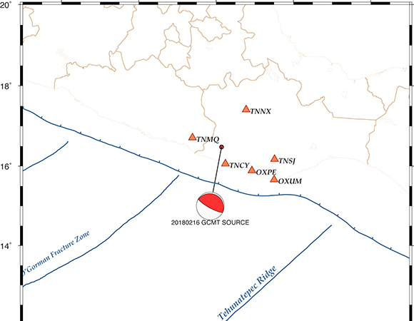 Location map for TLALOCNet GPS/GNSS stations near the February 16, 2018 M7.2 earthquake 37km NE of Pinotepa, Mexico. (Image provided by Sara Ivonne Franco Sánchez, Laboratorio de Geodesia Satelital (LaGeoS), UNAM)