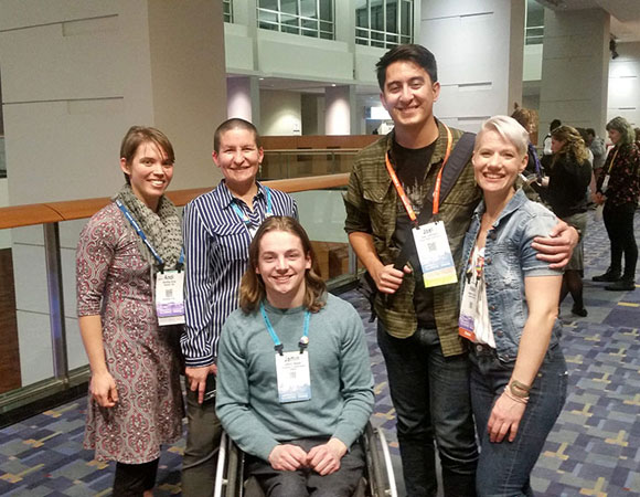 2018 RESESS interns reunite with 2018 SOARS interns at the Diversity and Inclusion Reception at the AGU Fall Meeting. (Photo/Andria Ellis, UNAVCO).