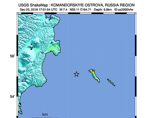 USGS ShakeMap for the December 20, 2018 M 7.3 Earthquake, 82km W of Nikol'skoye, Russia. (Figure from USGS)