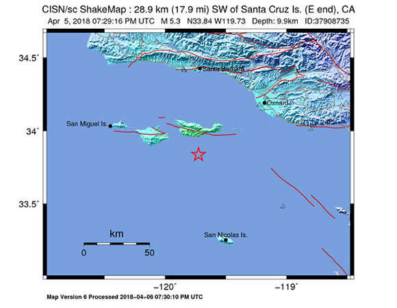 USGS ShakeMap for the April 5, 2018 M5.3 earthquake 29km SW of Santa Cruz Island (E end), California. (Figure from USGS.)