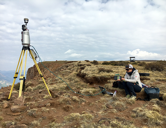 Terrestrial Laser Scanning (TLS) data is collected with a long range scanner by project PI Mylène Jacquemart. These data provide a three-dimensional point cloud of the slide surface up to 6 km from the scanner location. (Photo/Brendan Hodge, UNAVCO)