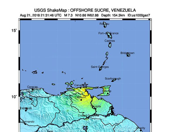 USGS ShakeMap for the August 21, 2018 M7.3 Earthquake, 30km NE of Rio Caribe, Venezuela (Figure from USGS.)