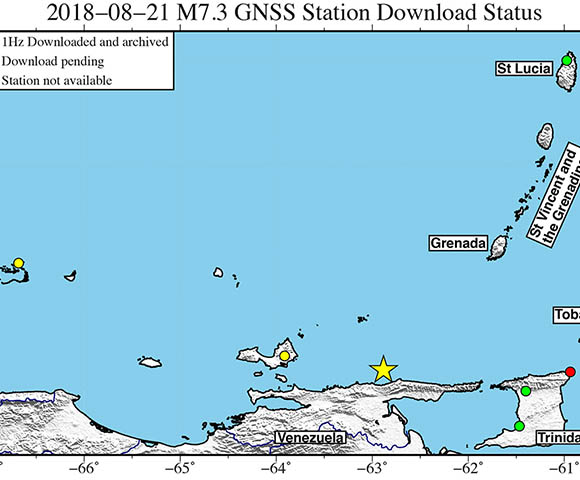 Map showing continuous GPS/GNSS stations (circles) near the epicenter (yellow star) of the August 21, 2018 M7.3 Earthquake, 30km NE of Rio Caribe, Venezuela (Figure/ Christine Puskus,UNAVCO.)