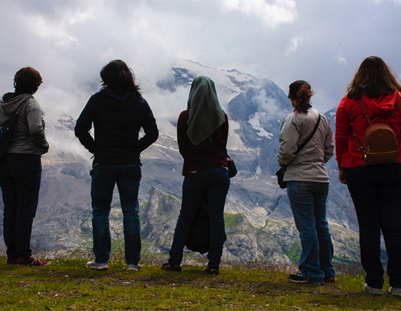 Students contemplate the Marmolada glacier, which still existed as of July 2018. (Photo/Angeline Carbajal)