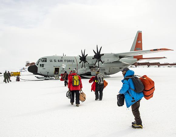 "Leaving McMurdo Station for WAIS Divide by LC130 ""Hercules."" (Photo/Nicolas Bayou, UNAVCO)"