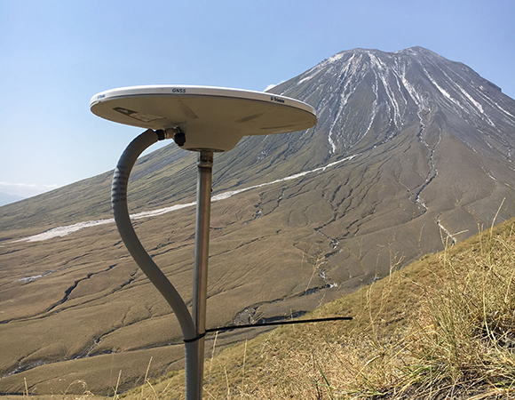 A continuous GPS station at Ol Doinyo Lengai volcano, Tanzania. (Photo/D. Sarah Stamps, Virginia Tech)