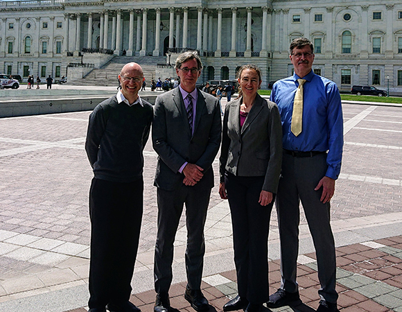 Four representatives of the EarthScope community shared the main highlights of the EarthScope program at the U.S. Capitol to showcase its contributions to science, discovery, and society through education, supporting a technically trained workforce, and improved understanding and monitoring of natural hazards such as earthquakes, volcanic eruption, drought, and tsunamis. From left to right: Mike Brudzinski, Harold Tobin, Beth Pratt-Sitaula, and Jeff Freymueller. (Photo/Samantha Slease, EarthScope National Office)