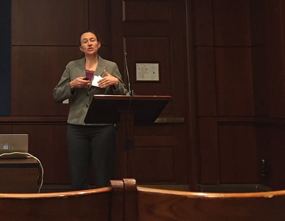 Beth Pratt-Sitaula shares the breadth of EarthScope impacts on education, outreach, and workforce development to staffers at the U.S. Capitol. (Photo/Donna Charlevoix, UNAVCO)