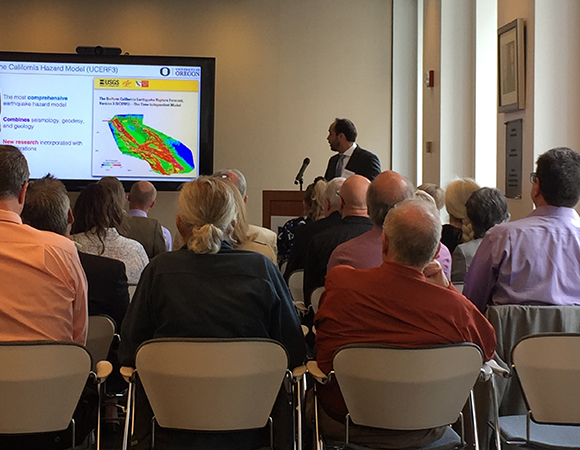 Diego Melgar, University of Oregon, presents on Impactful Science: Earthquake Hazards and EarthScope at the EarthScope Finale Science Symposium. (Photo/Donna Charlevoix, UNAVCO)