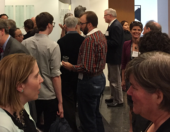 Attendees of the EarthScope Finale Science Symposium talk during the symposium break. (Photo/Donna Charlevoix, UNAVCO)