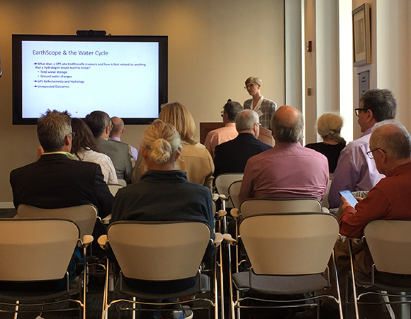 Kristine Larson, University of Colorado at Boulder, presents on Innovating with EarthScope to Study the Water Cycle at the EarthScope Finale Science Symposium. (Photo/Donna Charlevoix, UNAVCO)