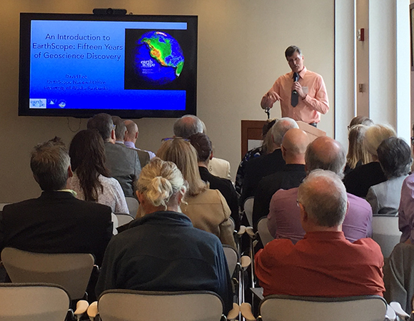 Jeff Freymueller, director of the EarthScope National Office, concluded the EarthScope Finale Science Symposium with comments on the EarthScope Legacy. (Photo/Donna Charlevoix, UNAVCO)