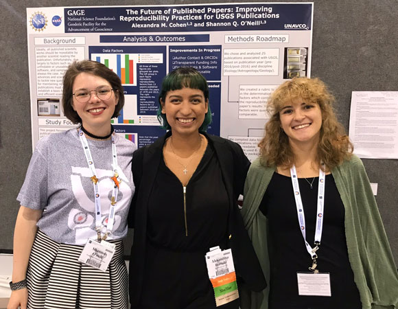 Shannon O'Neill (left) and Alex Cohen (right) pose with former GLP and RESESS intern Alex Hurtado (center) while presenting their poster at the GSA annual meeting in Phoenix, AZ. (Photo/Patrick Shabram, Front Range Community College)