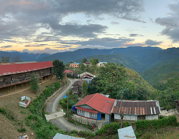 Views from the hotel balcony in Tedim made up for the lack of hot water. (Photo/Keith Williams, UNAVCO)