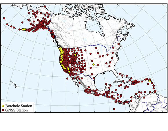 Distribution of the Network of the Americas (NOTA) cGPS/GNSS and borehole geophysics stations. The 1,257-station network spans from northern Alaska to northern South America. (Map/Christine Puskas, UNAVCO)