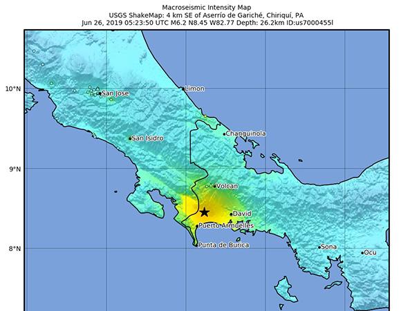 USGS ShakeMap for the June 26, 2019 M6.2 earthquake 5km SE of Aserrio de Gariche, Panama. (Figure/USGS)