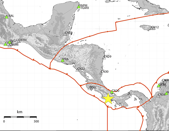 Map showing real-time GNSS streaming stations within 1,700 km of the June 26, 2019 M6.2 Panama earthquake epicenter, operated by UNAVCO as part of the National Science Foundation GAGE Facility Network of the Americas (NOTA), used for Peak Ground Displacement (PGD) analysis. (Figure/Kathleen Hodgkinson, UNAVCO)