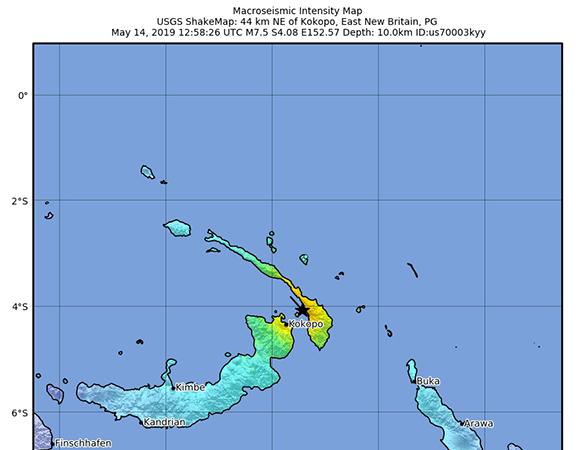 USGS ShakeMap for the May 14, 2019 M 7.5 Earthquake, 45km NE of Kokopo, Papua New Guinea. (Figure from USGS)