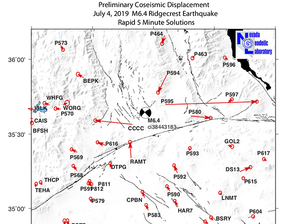 Preliminary coseismic horizontal vector displacements for the July 4, 2019 M 6.4 earthquake. The 5-minute sample rate time series were obtained using rapid orbits from the Jet Propulsion Laboratory. Maximum displacements are approximately 10 cm, describing east-west extension and north-south contraction, consistent with a strike-slip event. Four-character codes indicate GPS station names. Vectors have 95% confidence ellipses on their tips. // These results are preliminary and subject to revision. (Image/Nevada Geodetic Laboratory)