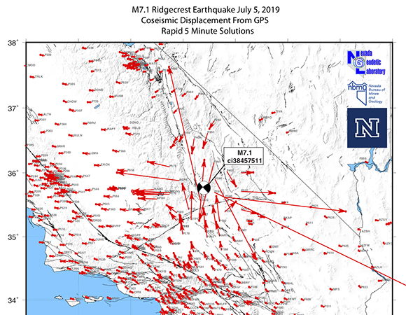 Rapid analysis coseismic offset pattern for the July 6, 2019 M 7.1 Ridgecrest earthquake, from the Nevada Geodetic Laboratory (NGL). From NGL: The maximum movement of a GPS station was over 500 mm, or about half a meter at station P595, about 20 km east of the epicenter. Notably, most of southern California moved because of the event to some degree, though in most places this movement was small, under 10 mm. Similar to the previous M 6.4 event on July 4, the movements are approximately east-west extensional, and north-south contractional. This is consistent with right lateral slip on a northwest striking fault plane. // These results are preliminary and subject to revision. (Image/Nevada Geodetic Laboratory)