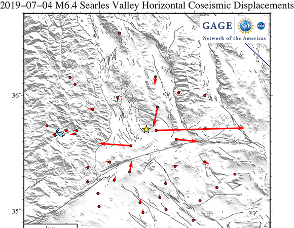GAGE Facility GNSS Analysis Center co-seismic horizontal offsets of the 2019-07-04 M6.4 Searles Valley earthquake. Offsets estimates by Tom Herring, MIT. (Image/Christine Puskas, UNAVCO)