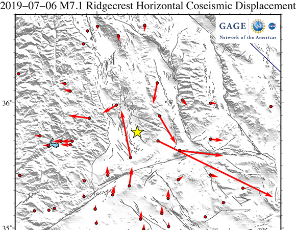 GAGE Facility GNSS Analysis Center co-seismic horizontal offsets of the 2019-07-06 M7.1 Ridgecrest earthquake. Offsets estimates by Tom Herring, MIT. (Image/Christine Puskas, UNAVCO)