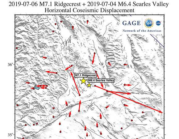 GAGE Facility GNSS Analysis Center co-seismic horizontal offsets of the 2019-07-06 M7.1 Ridgecrest and 2019-07-04 M6.4 Searles Valley earthquakes. One-day solutions from July 2/3 and July 7/8 were used to avoid days with co-seismic displacement during the day. Because these are based on 24-hour position solutions, these estimates may differ from offsets estimated from high-rate sub-daily position solutions including sub-daily post-seismic effects. These offset estimates are available from the UNAVCO ftp site as an event (EVT) file. Offsets estimates by Tom Herring, MIT. (Image/Christine Puskas, UNAVCO)