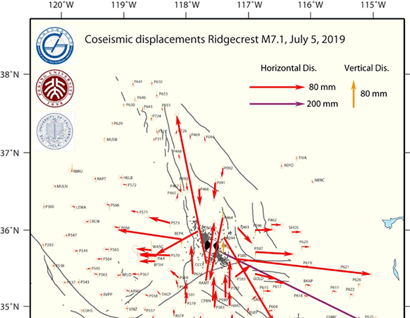 GPS derived coseismic displacements of Mw7.1 mainshock. Four days of GPS data spanning the mainshock and after the foreshock were processed to obtain the solution. The red and orange vectors are horizontal and vertical displacements, and the magenta vector is the largest horizontal displacement (57 cm) plotted in different scale. Error ellipses represent 70% confidence. The black dots are aftershocks that occurred after the mainshock. GPS data are from stations in the Network of the Americas (NOTA) (formerly part of the Plate Boundary Observatory), and archived at UNAVCO. (Analysis and image/Min Wang & Jianbao Sun, Institute of Geology, China Earthquake Administration; Han Yue, School of Earth and Space Science, Peking University; and Zheng-Kang Shen, School of Earth and Space Science, Peking University & Dept. of Earth, Planetary, and Space Sciences, UCLA)