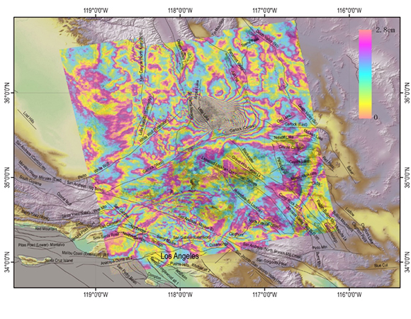 The same InSAR image as in Figure 27, with data wrapped. Data are from the ESA Sentinel-1 satellite. (Analysis and image/Min Wang & Jianbao Sun, Institute of Geology, China Earthquake Administration; Han Yue, School of Earth and Space Science, Peking University; and Zheng-Kang Shen, School of Earth and Space Science, Peking University & Dept. of Earth, Planetary, and Space Sciences, UCLA)