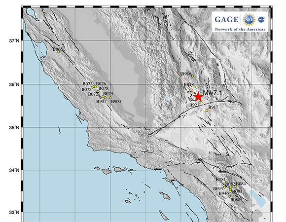 Locations of the three NOTA borehole geophysics subnetworks closest to the Ridgecrest earthquake series, with the approximate location of the July 6, 2019 M 7.1 earthquake epicenter. (Figure/Dave Mencin, UNAVCO)