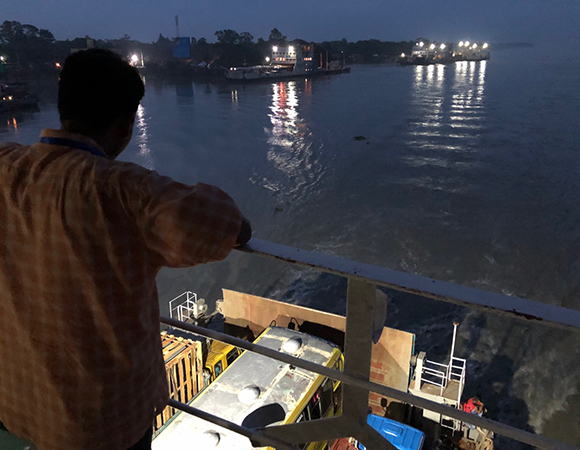 Taking the ferry across the confluence of the Ganges and Brahmaputra Rivers. The river here feels more like a vast lake—you cannot see the opposite bank from the one you are standing on! (Photo/John Galetzka, UNAVCO)