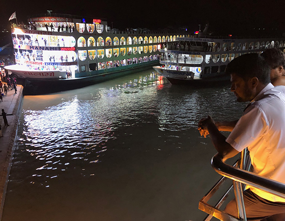 Giant river ferries prepare to take passengers from Barisal to Dhaka on an overnight journey—a truly world class way to travel. (Photo/John Galetzka, UNAVCO)