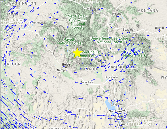 Long-term tectonic velocities of GPS/GNSS stations in the Network of the Americas (NOTA) near the epicenter of the March 31, 2020 Stanley, Idaho earthquake. Pink scale bar in the lower left is 25 mm/yr. Approximate event epicenter from the USGS shown as yellow star. Explore more at https://www.unavco.org/software/visualization/GPS-Velocity-Viewer/GPS-Velocity-Viewer.html (Figure from the UNAVCO GPS Velocity Viewer)