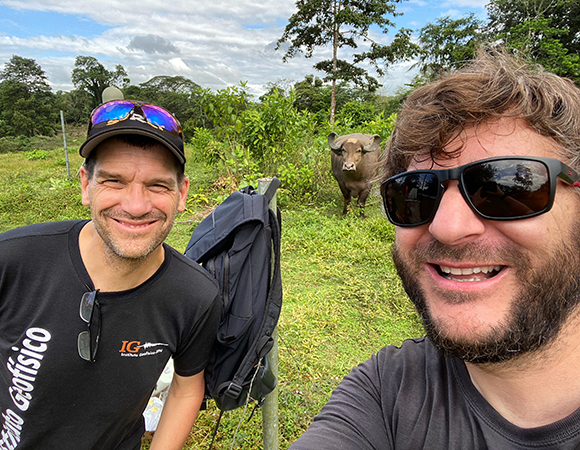 Last selfie at station VERA. The buffalo never attacked, though he did steal one of our brushes. (Photo/Nicolas Bayou, UNAVCO)