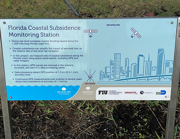 Interpretive signs accompany the GNSS installations to engage and inform the public. (Photo/John Galetzka, UNAVCO)