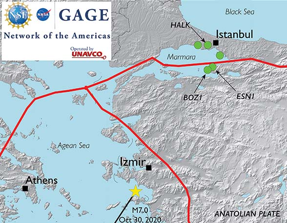 Map of region. Location of the M7 event is shown by yellow star (USGS, us7000c7y0), green dots show the GONAF strainmeters, thick red lines show the plate boundaries in the region (Bird, 2003 ) (Figure by Kathleen Hodgkinson, UNAVCO).