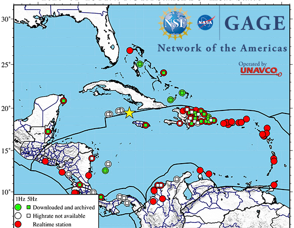 Map showing NOTA GPS/GNSS stations from which UNAVCO has downloaded high-rate (1-sps and 5-sps) data following the January 28, 2020 M 7.7 earthquake 125 km NNW of Lucea, Jamaica. These data are available as RINEX files for post processing from the UNAVCO high-rate data ftp site. (Figure by Christine Puskas, UNAVCO)