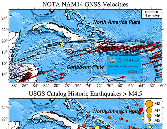 (Top) Velocities of NOTA stations in the NAM14 reference frame. The NAM14 frame is a fixed-North America frame, and the Caribbean plate moves to the east-northeast relative to the North America plate. (Bottom) Historic seismicity from the USGS Earthquake Hazards Program seismic catalog. The catalog contains Caribbean earthquakes dating back to 1900, and the map color codes the earthquakes by year of occurrence. Only events with M > 4.5 are shown. (Figure by Christine Puskas, UNAVCO)