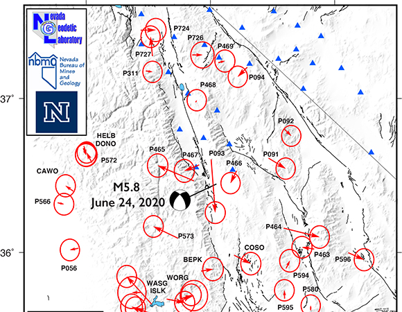 Preliminary coseismic displacements from NOTA GNSS stations produced with three full days of data by the Nevada Geodetic Laboratory at UNR. The solutions for the four nearest stations (P465, P466, P467, and P093) likely represent true displacements and the motions are consistent with the moment tensor calculated from seismic data; solutions for farther stations such as P573 and P464 are likely not representative of true displacements and will improve with more data. June 28, 2020. (From Bill Hammond, UNR)