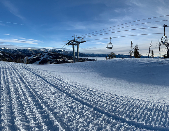 Panorama from the top of the American Spirit Lift at the Yellowstone Club, with Lone Peak to the left. (Photo/Keith Williams, UNAVCO)