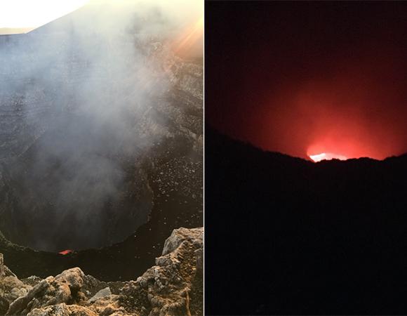 The lava lake at Masaya Volcano, day vs night. (Photo/Jim Normandeau, UNAVCO)