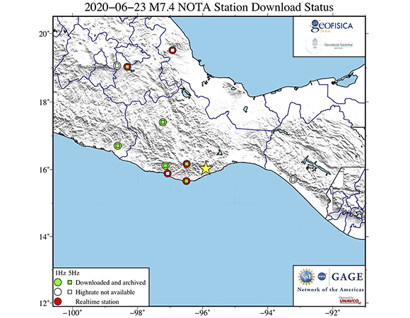 Map showing NOTA GPS/GNSS stations from which UNAVCO is attempting to downloaded high-rate (1-sps and 5-sps) GPS/GNSS data following the June 23, 2020 M 7.4 earthquake 12 km SSW of Santa María Zapotitlán, Mexico. Stations with real-time datastreams are shown in green. These data will be available for post processing from the UNAVCO high-rate data ftp site. (Figure by Christine Puskas, UNAVCO)