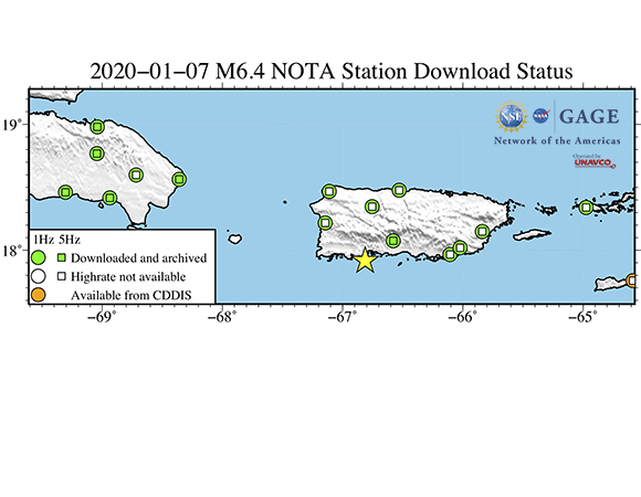 Map showing NOTA GPS/GNSS stations from which UNAVCO has downloaded high-rate (1-sps and 5-sps) data following the January 7, 2020 M 6.4 earthquake 8 km S of Indios, Puerto Rico. These data are available as RINEX files for post processing from the UNAVCO high-rate data ftp site. (Figure by Christine Puskas, UNAVCO)