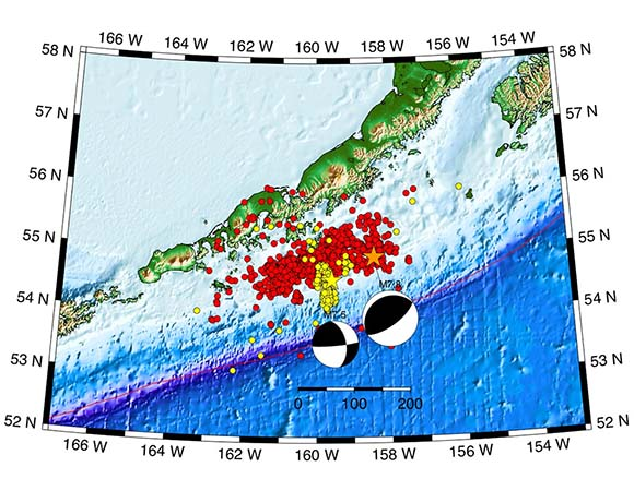 Epicenter of the July 22, 2020 main shock M 7.8 Simonoff, Alaska Earthquake earthquake from July 2020 is shown with an orange star. Aftershocks from the Simonoff earthquake are shown as red circles. The October 19th, 2020 M7.6 Sand Point, Alaska aftershock is shown as a yellow star, and its aftershocks are the yellow circles. The locations of the yellow circles have not been reviewed by an analyst and are subject to change. (Image/ Mike West, Alaska Earthquake Center)