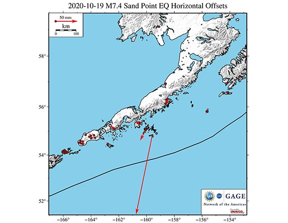 Map of ground displacements of NOTA GPS/GNSS stations closest to the 2020-10-19 M7.4 Sand Point earthquake.  The offsets were calculated by the GAGE Analysis Center Coordinator from final GNSS solutions.  (Figure by Christine Puskas, UNAVCO)