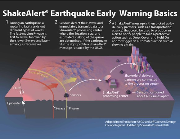 This diagram shows how an earthquake early warning system like ShakeAlert® would operate. When an earthquake occurs, both compressional (P) waves and transverse (S) waves radiate outward from the epicenter. The P wave, which travels fastest, trips sensors placed in the landscape, transmitting data to a ShakeAlert® processing center where the location, size, and estimated shaking of the earthquake are determined. If the earthquake fits the right profile a ShakeAlert® message is issued by the USGS. The message is picked up by ShakeAlert® partners which could be used to produce an alert to notify people to take a protective action such as Drop, Cover, and Hold On and/or trigger an automated action. (Image/USGS))